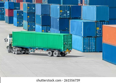 Truck in container depot in import and export area at port.