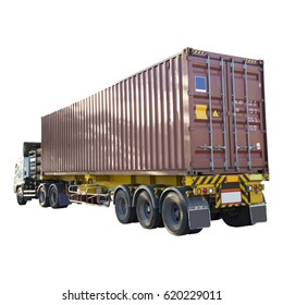 truck with container on white background.