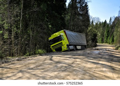 Truck crashed to the forest road.