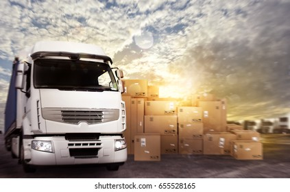 Truck in a deposit with packages ready to start