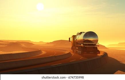 Truck drivenin the desert. ,3d render