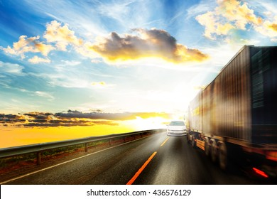 Truck driver blinded by the sun moving a collision course