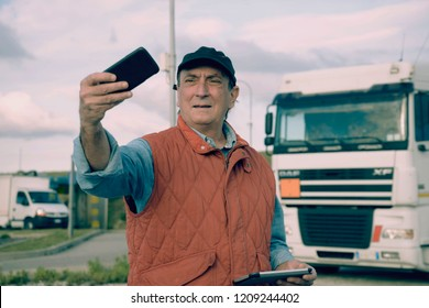 Truck driver shooting selfies with post production Instagram filter
