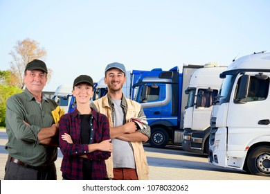 Truck drivers in a parking area