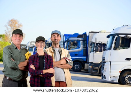 Truck drivers in a