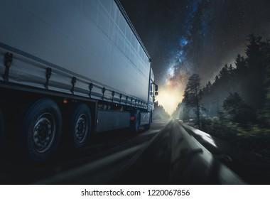 Truck drives at night