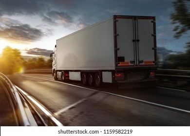 Truck drives on a highway