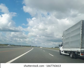 A truck driving on the highway in Poland. Transportation of heavy loads.