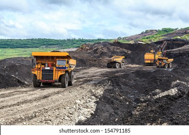 Truck and Electric Shovel in Open Pit