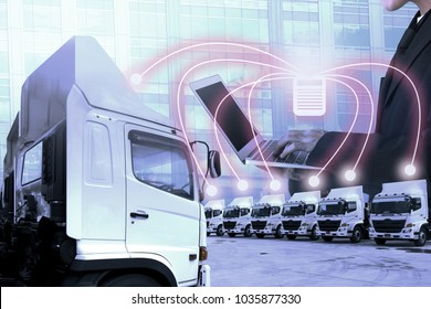 Truck fleet service with people using technology connectivity as in transportation concept.