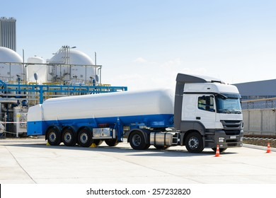 Truck with fuel at the plant