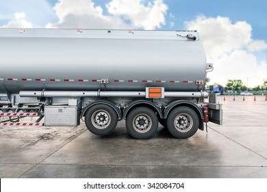 Truck with fuel tank in gas station