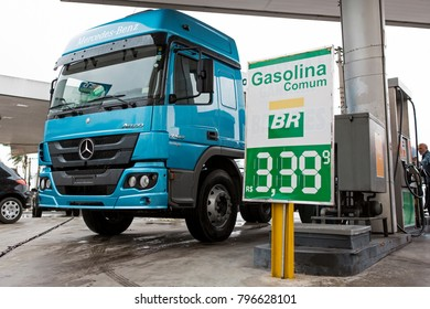 Truck fueling at Petrobras Gas Station with the price of fuel at Sao Paulo, Brasil - 29 Nov 2016