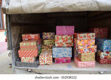 Truck full of  Christmas presents, made by people, in shoe boxes, for the poor and unfortunate.