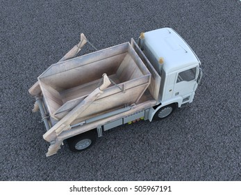 truck garbage side view 3d rendering illustrator