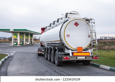 Truck with gasoline tank fuel before unloading at a gas station