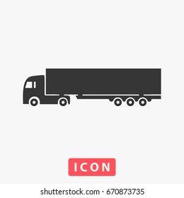 Truck Icon Illustration. Flat symbol. Simple Perfect Black pictogram illustration on white background.