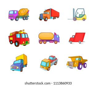 Truck icon set. Cartoon set of truck icons for your web design isolated on white background