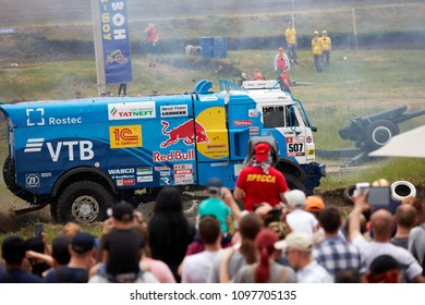 Truck Kamaz of the Kamaz-Master racing team. demonstration race. BIZON Truck Show. ROSTOV-ON-DON, RUSSIA - 20.05.2018