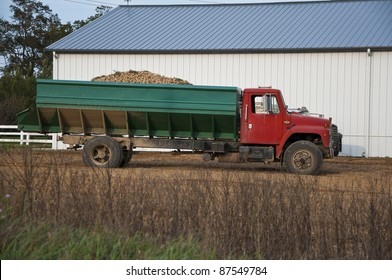 Truck loaded with freshly harvested potatoes