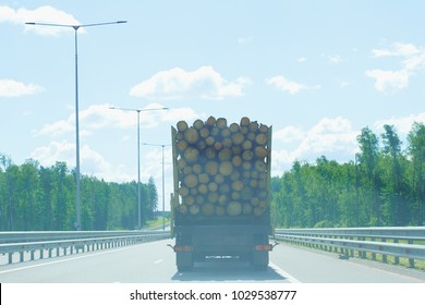 Truck with logs on the road