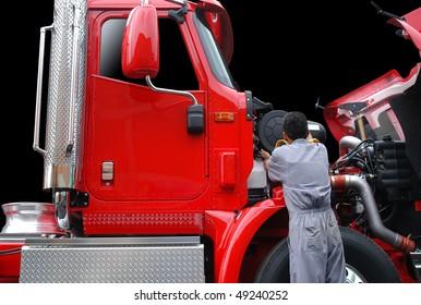 Truck maintenance.