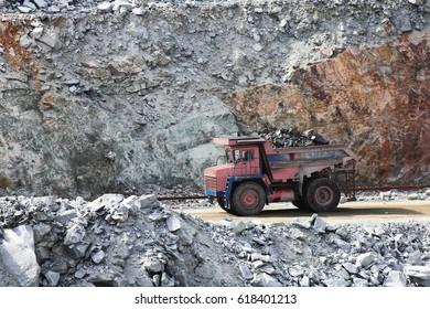 Truck of mining in open cast. Minerals industry
