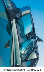 truck mirror closeup