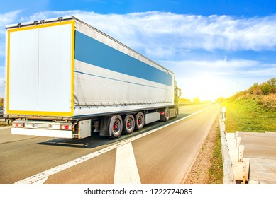 Truck moves on the road at speed, delivery of goods .Transport in Europe