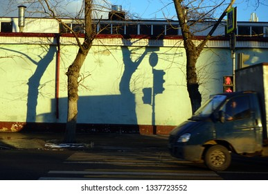 Truck near wall