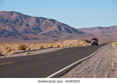 Truck on the California desert road