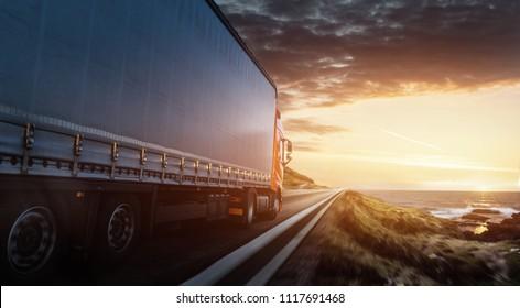 Truck on a coastal road