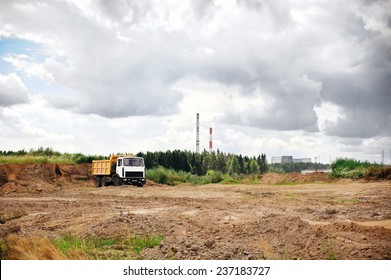 Truck on a construction site, excavation