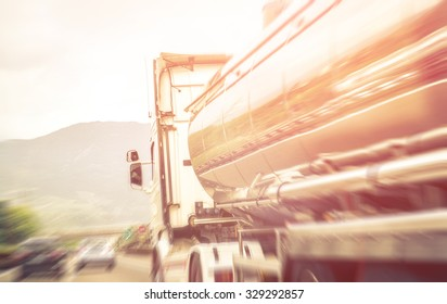 Truck on the freeway.blurred image about transportation and highway