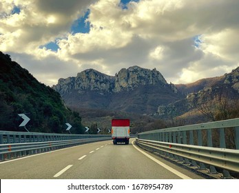 Truck on a highway in Campania region, Italy