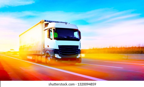 Truck on highway . Commercial transport .  truck transport container .