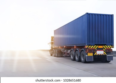 Truck on highway road container, transportation concept.,import,export logistic industrial Transporting Land transport on the expressway