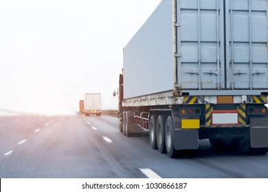 Truck on highway road container, transportation concept.,import,export logistic industrial Transporting Land transport on the asphalt expressway