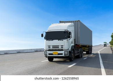 Truck on highway road with container, transportation concept.