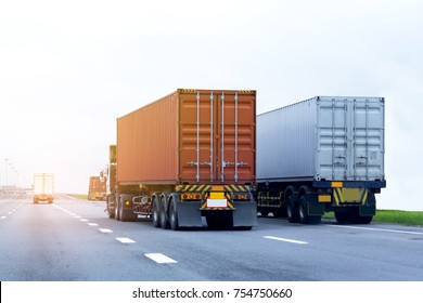 Truck on highway road with red container, transportation concept.,import,export logistic industrial Transporting Land transport on the asphalt expressway with blue sky