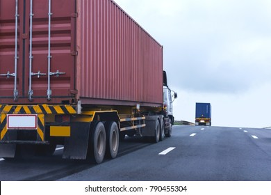 Truck on highway road with red container, transportation concept.,import,export logistic industrial Transporting Land transport on asphalt expressway