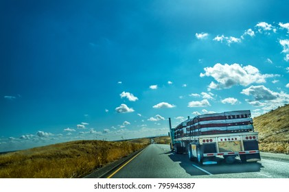 Truck on Interstate 5 southbound in California, USA