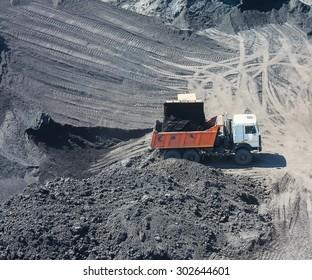 Truck on the loading of coal in coal mine