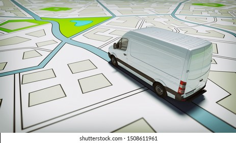 Truck on a road city map. Concept of global shipment and GPS tracking