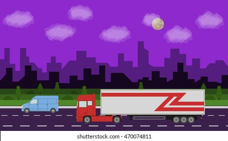 Truck on the road. City night time landscape. Heavy trailer truck. Logistic and delivery concept. Raster version.