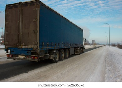 The truck on road. Container on the big highway. transport loads