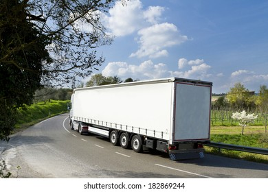 truck on the road in italy, tuscany