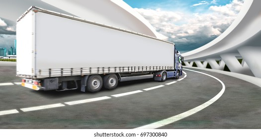 a truck on the road, symbolic picture for cargo and transportation companies
