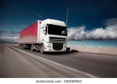 truck on road  in winter