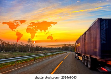 Truck on road and World map background - shipping travel concept.